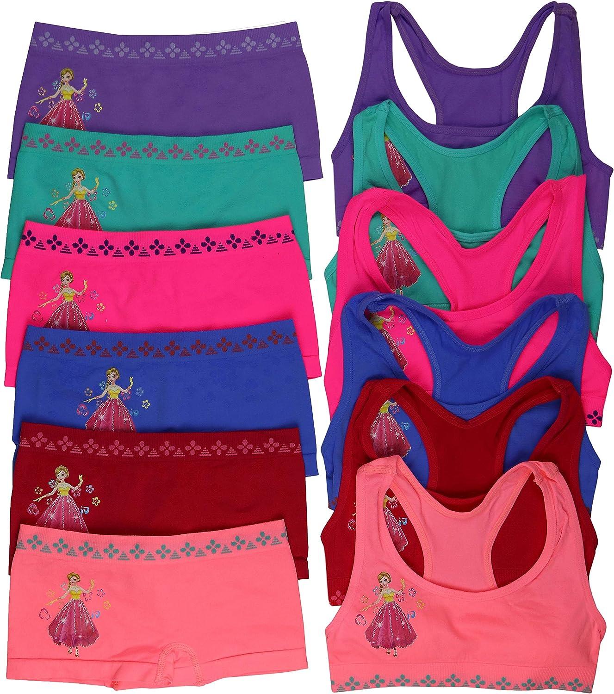 ToBeInStyle Girls Pack of 6 Set of Matching Bras /& Boyshorts