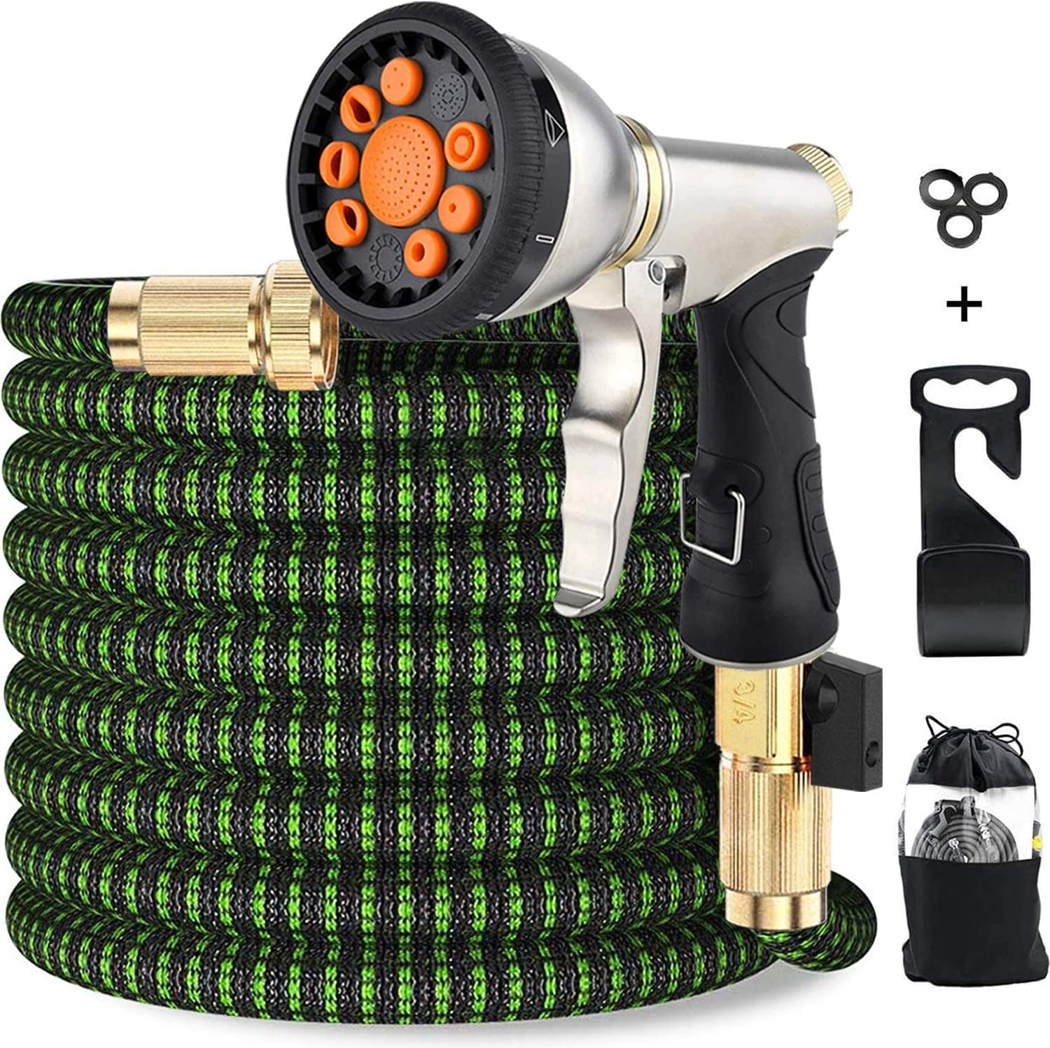 Upgraded Expandable Garden Hose 50 FT 100FT Retractable Water Hose with 4-Layers Flex Strong Latex, 3/4