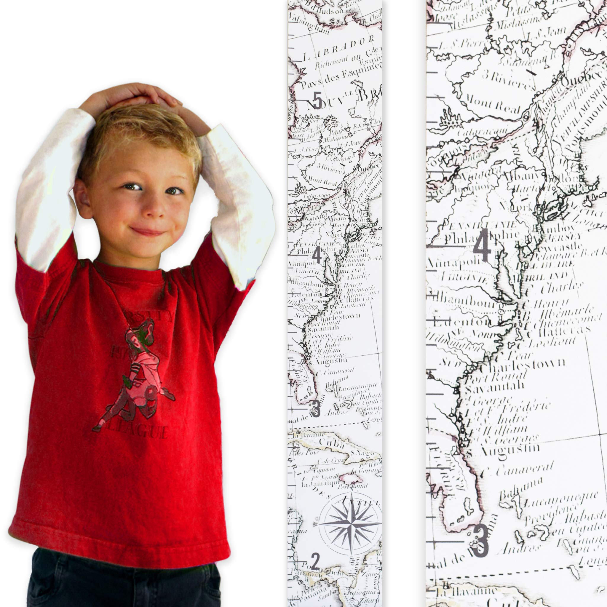 Growth Chart Art | Wooden Map Growth Chart for Kids [Boys and Girls] – Children's Room Décor Height Chart – East Coast Map - East Coast White