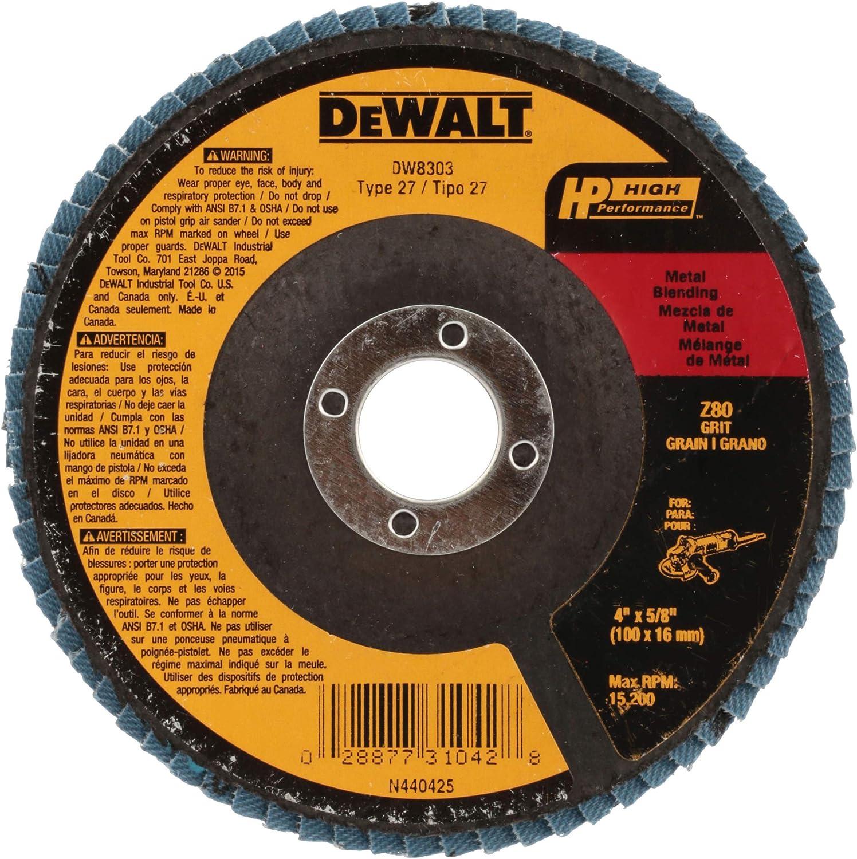 DEWALT DW8302 4-Inch by 5//8-Inch 60 Grit Zirconia Angle Grinder Flap Disc