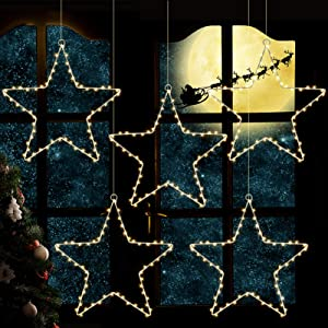 SOLLED Christmas Window Star Lights, Hanging Twinkle Star Lights with Timer and Remote, 8 Lighting Modes Waterproof Christmas Stars for Curtain Porch Balcony Decor,5 Packs