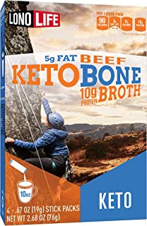product image for LonoLife Keto Beef Bone Broth Powder, 5g fat, 10g Protein, Paleo and Keto friendly, Stick Packs 4 Count