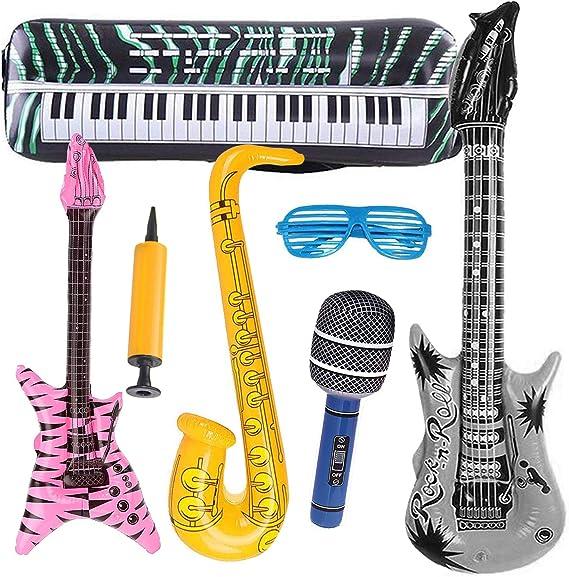 INTVN 7 UNIDS Inflables Guitarra Saxofón Micrófono Globos Instrumentos Musicales Accesorios para Fiesta Suministros Favores de Fiesta Globos Random Color: Amazon.es: Juguetes y juegos