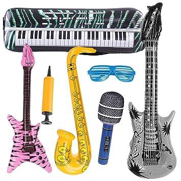 INTVN 7 UNIDS Inflables Guitarra Saxofón Micrófono Globos ...