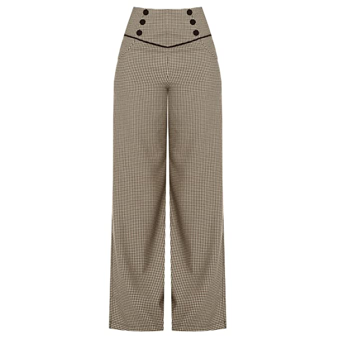 Vintage High Waisted Trousers, Sailor Pants, Jeans Banned 1940s 1950s Retro Vintage Dogtooth Wide Leg High Waist Slacks Trousers £29.99 AT vintagedancer.com