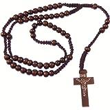 R Heaven - Madera de madera cable largo rosario de cuentas de collar 61cm , color marrón oscuro