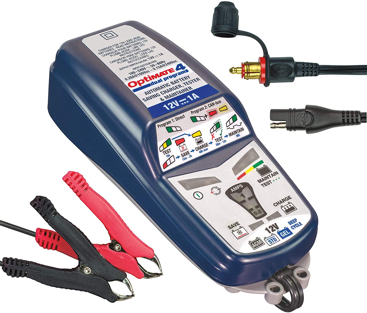 OptiMATE 4 CAN-bus edition, TM-351 8/9-step 12V 1A battery Saving charger-tester-maintainer: Automotive