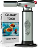 BEST CULINARY TORCH - Chef Torch for Cooking Crème Brulee - Aluminum Hand Butane Kitchen Torch – Blow Torch with Adjustable Flame – Cooking Torch – Perfect for Baking, BBQs, and Crafts + Recipe e-Book