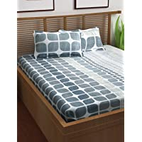 Story at Home 120 TC 100 % Cotton Flat Double Bedsheet with 2 Pillow Covers, Grey, 225 cm x 235 cm, PS1401