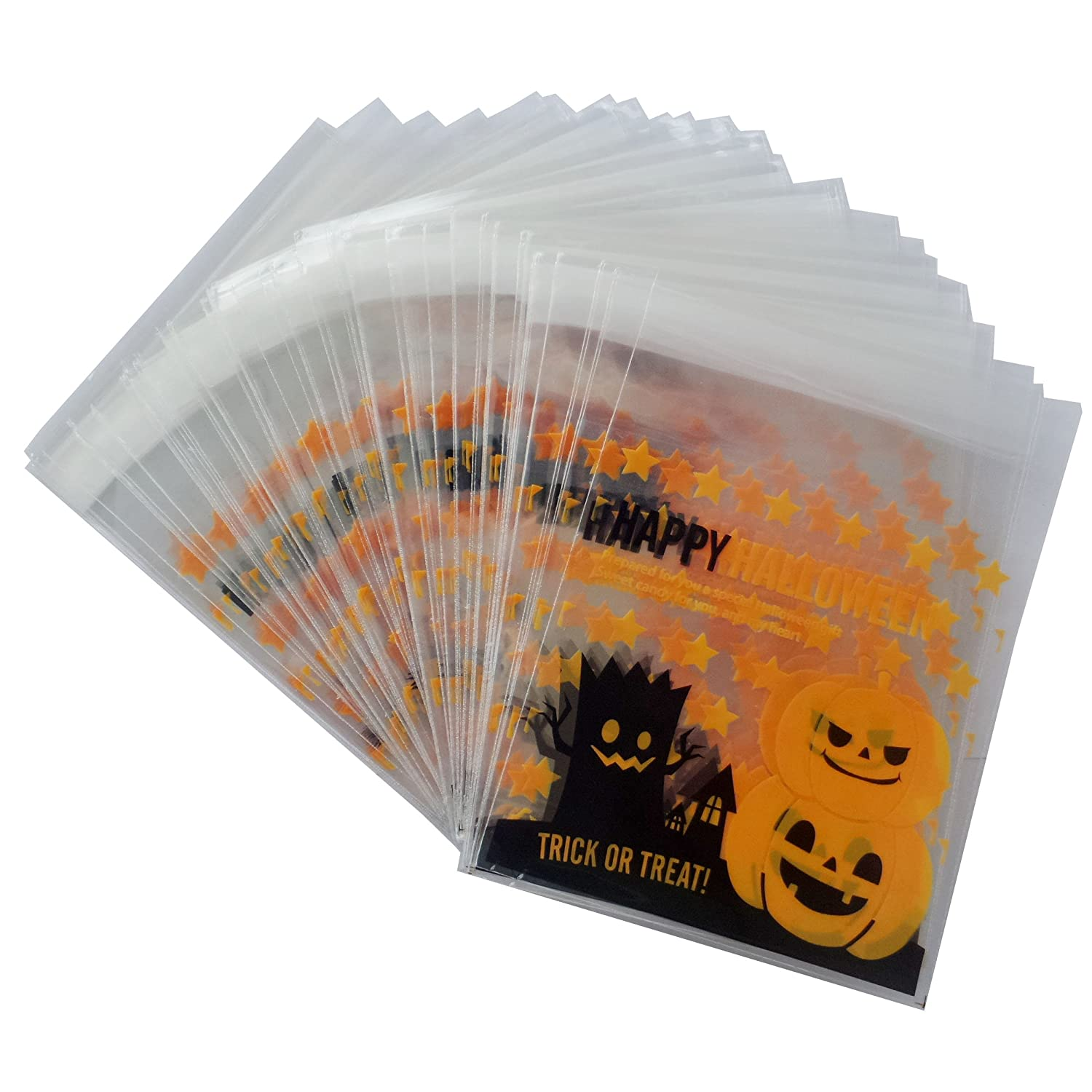 YunKo 100pcs Happy Halloween Pumpkin Cookie Packaging Self-Adhesive Plastic Bags for Biscuits Package Cz006