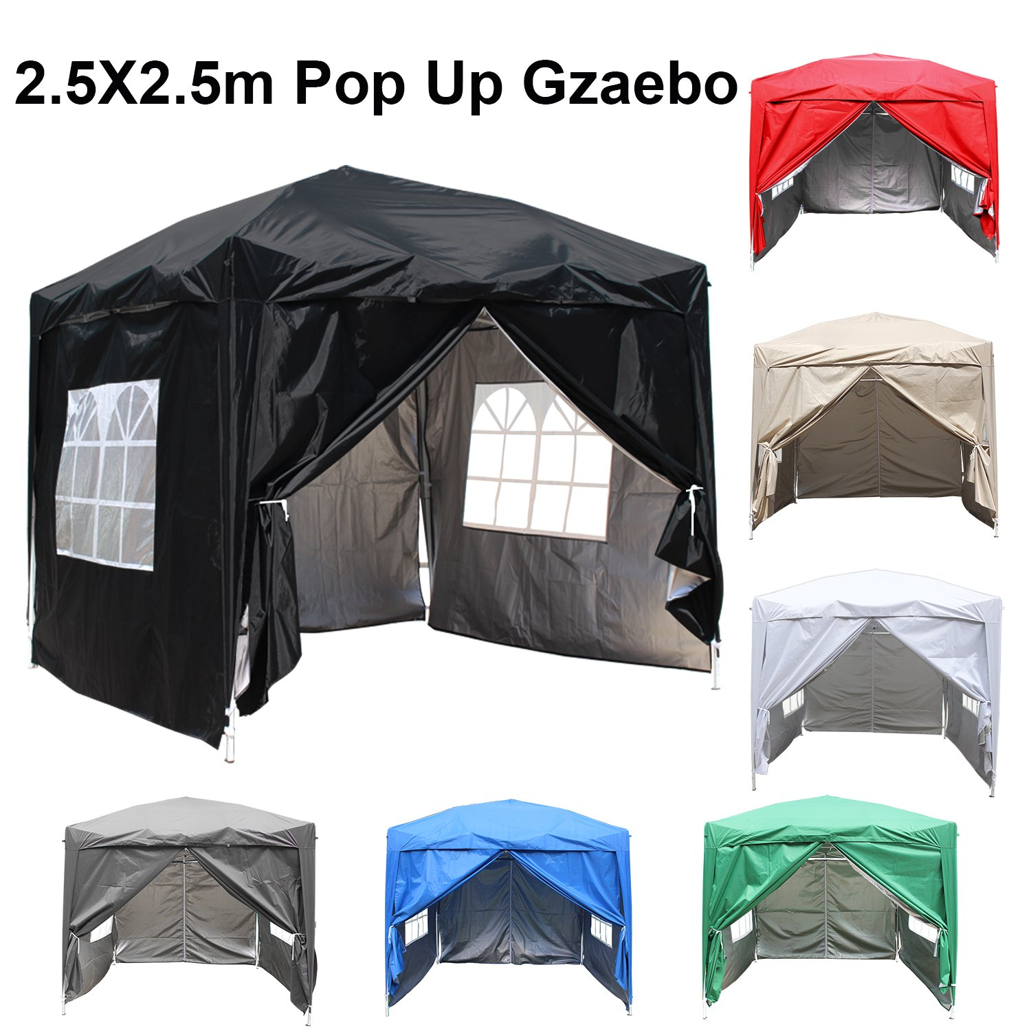 Greenbay 2.5M x 2.5M Foldable Pop up Gazebo Sun Protection Event Outdoor Tent With Four Side Panels (Two with Windows) - Black Manufactured for Greenbay