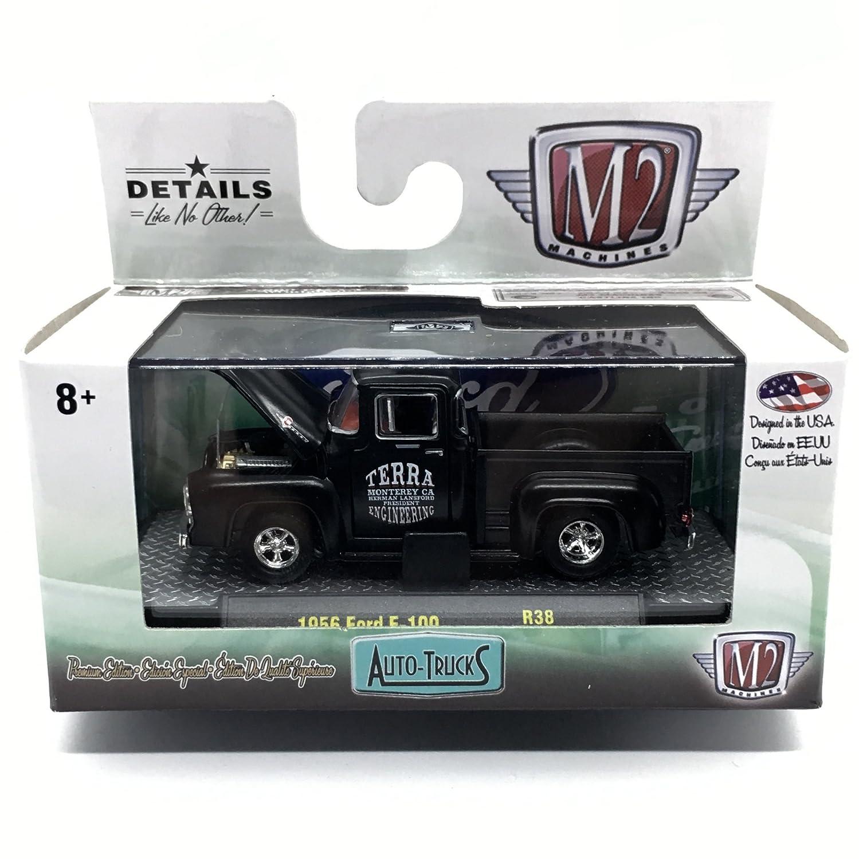 R38 16-19 Auto-Trucks Series Release 38-2016 Castline Premium Edition 1:64 Scale Die-Cast Vehicle M2 Machines 1956 Ford F-100 Truck Black Semi-Gloss
