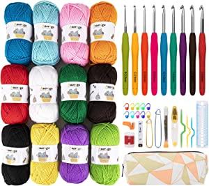 Azerogo Crochet Yarn kit, Handcrafts 12 Acrylic Yarn Skeins for Crochet and Knitting, 1312 Yards Craft DK Yarn with 41 Crochet Hook Set – Ideal Beginner Kit