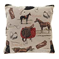 """Signare Tapestry Double Sided Square Throw Pillow Cover 18"""" x 18""""/ 45cm x 45cm (No Padding) in Horse Design"""