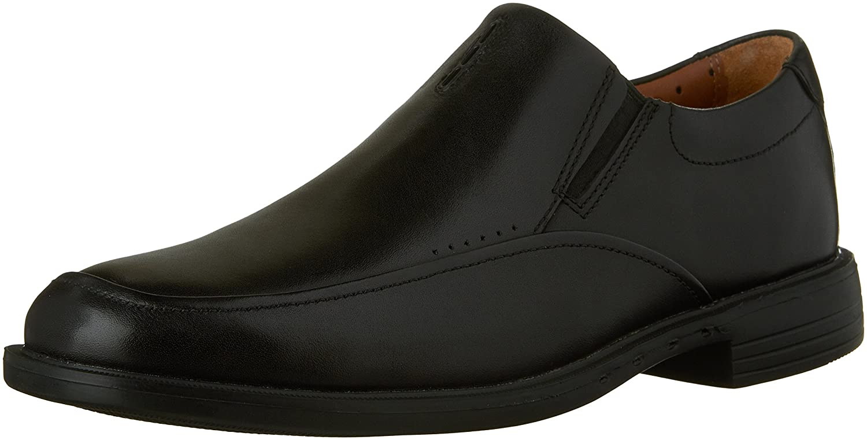 Clarks herrar Un.Bizley Lane Slip On, svart läder, USA 11 M
