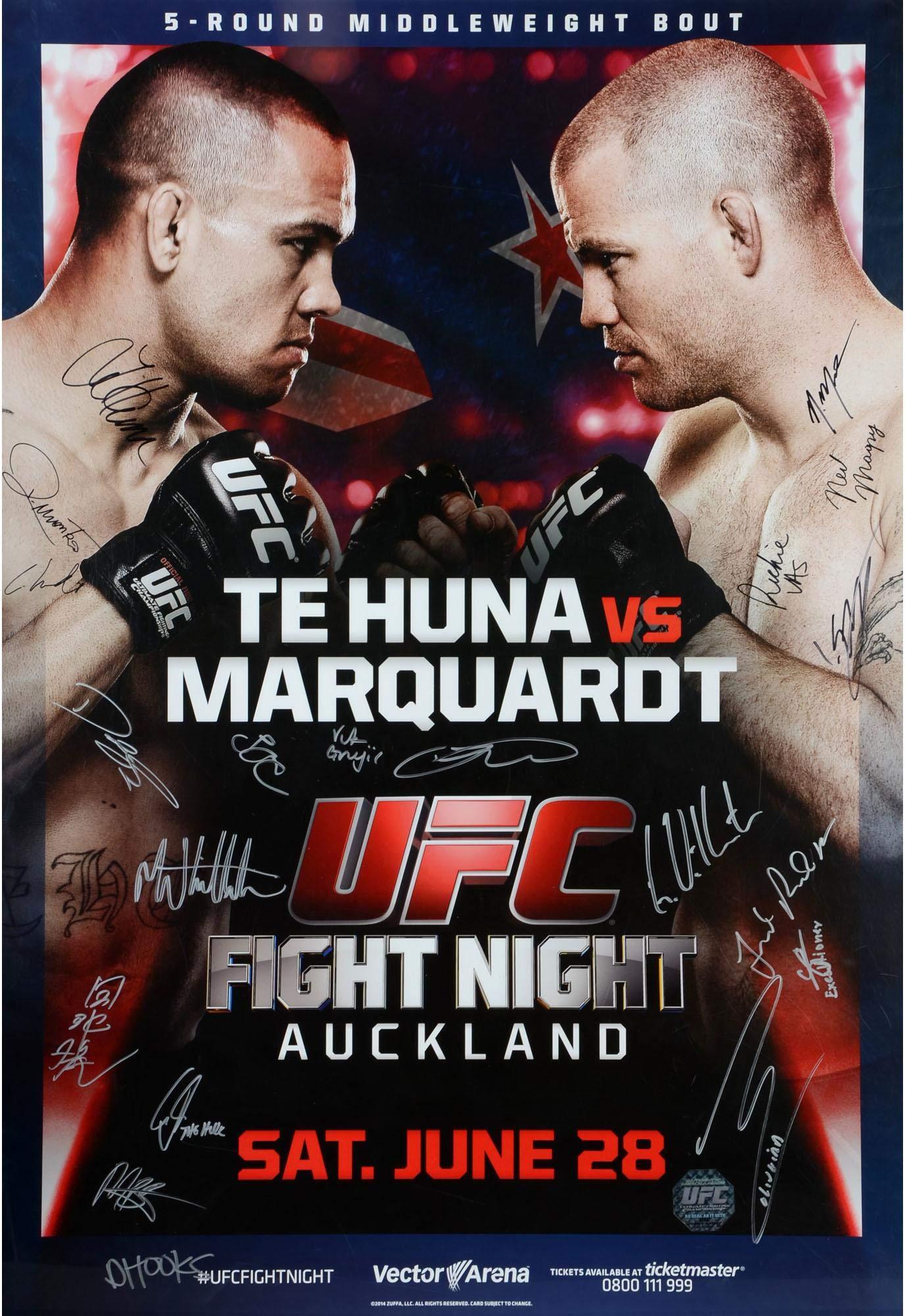 "UFC Fight Night 43 Te Huna vs. Marquardt Autographed 27"" x 39"" 20 Signature Fight Poster Fanatics Authentic Certified"