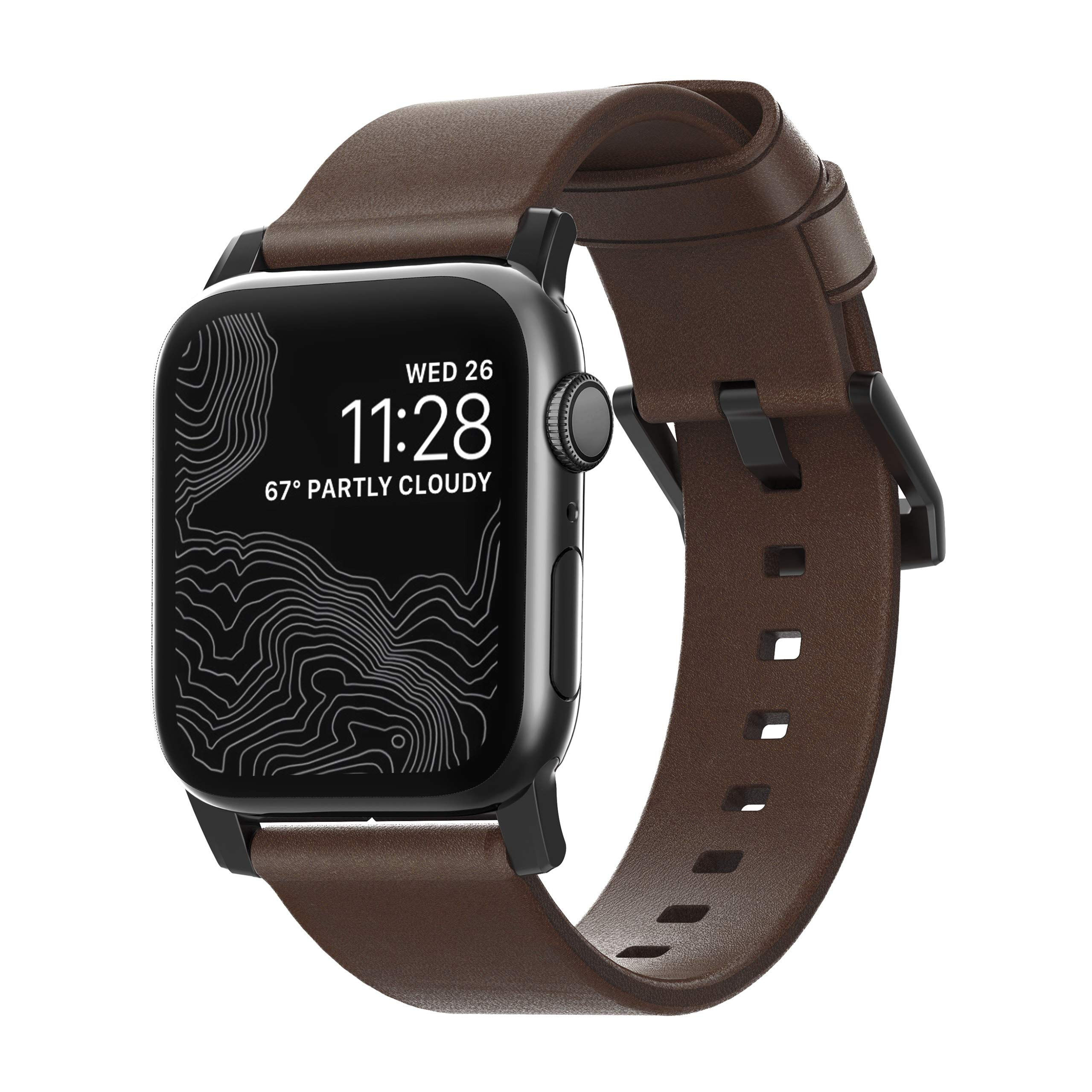 Nomad Modern Strap for Apple Watch 44mm/42mm | Rustic Brown Horween Leather | Black Hardware by Nomad