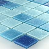 Glas Mosaikfliese 20x20x4mm Blau Mix
