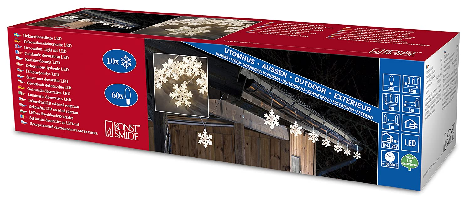Konstsmide Decoration Outdoor 10 Acrylic Snowflakes Light