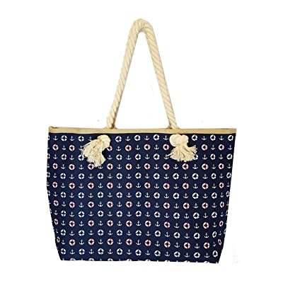 Navy Nautical Themed Shopping Tote