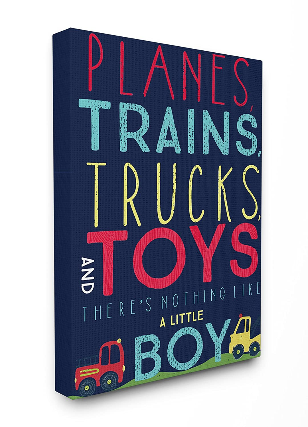 24 x 1.5 x 30 Proudly Made in USA Stupell Industries brp-1783/_cn/_24x30 The Kids Room by Stupell Stupell Home D/écor Planes Trains Trucks and Toys Oversized Stretched Canvas Wall Art