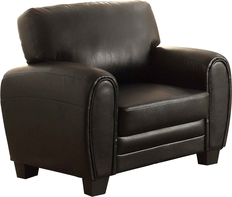 """Homelegance Rubin 41"""" Bonded Leather Chair, Black"""