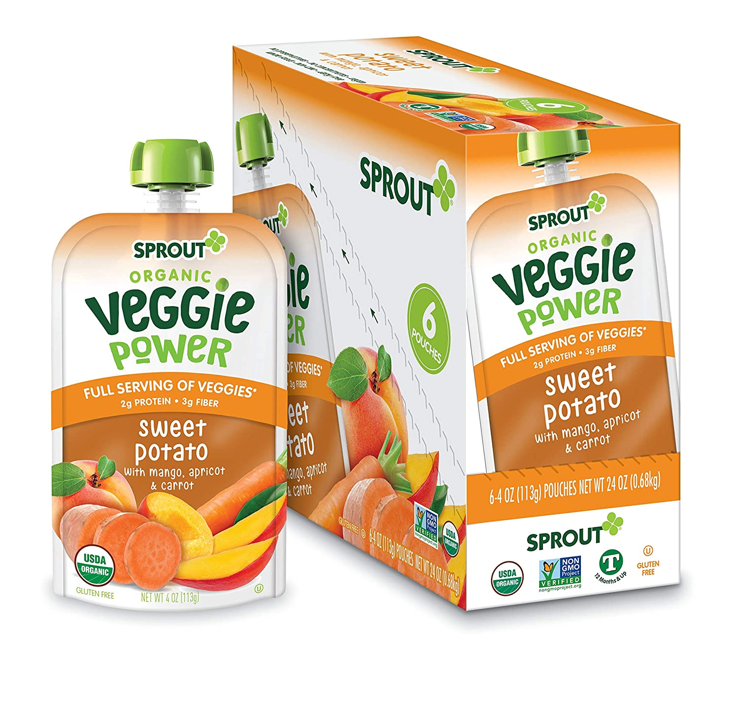 Sprout Organic Baby Food Toddler Veggie Power Pouches Stage 4, Sweet Potato with Mango, Apricot and Carrot, 4 Ounce Pouches (Pack of 12)