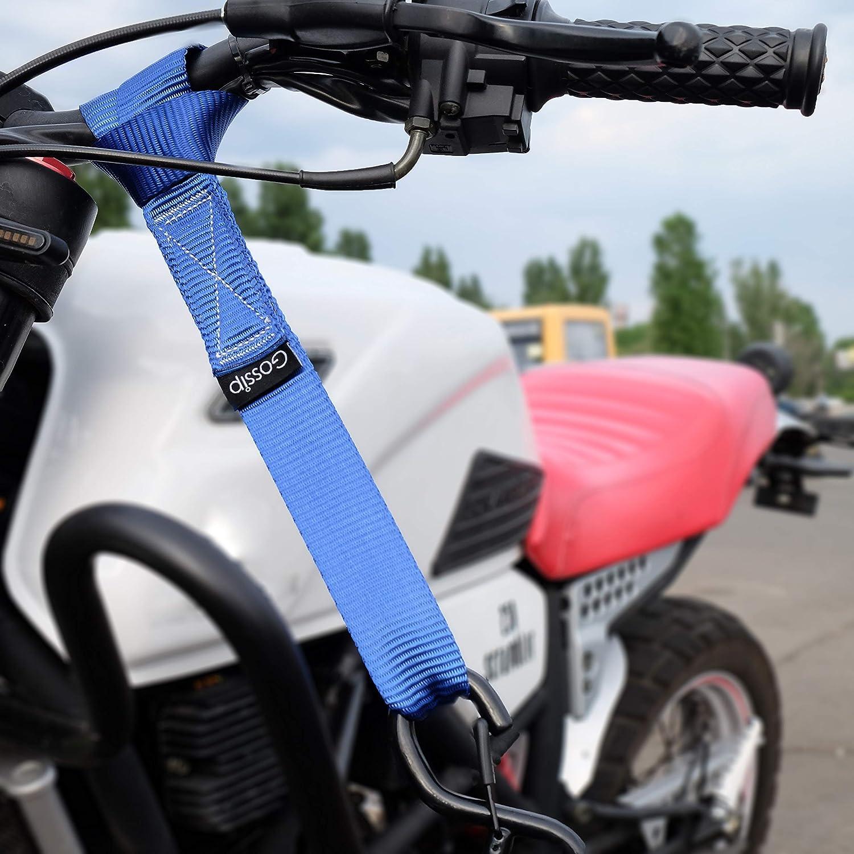 ATV UTV GOSSIP Soft Loops 1.5 x 18 inches Black 4 Pack Motorcycle Tie Down Straps in Storage Bag Secure Trailering of Bikes Lawn Equipment