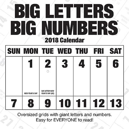 Grandes letras números grandes 2018 calendario de pared: Zebra ...