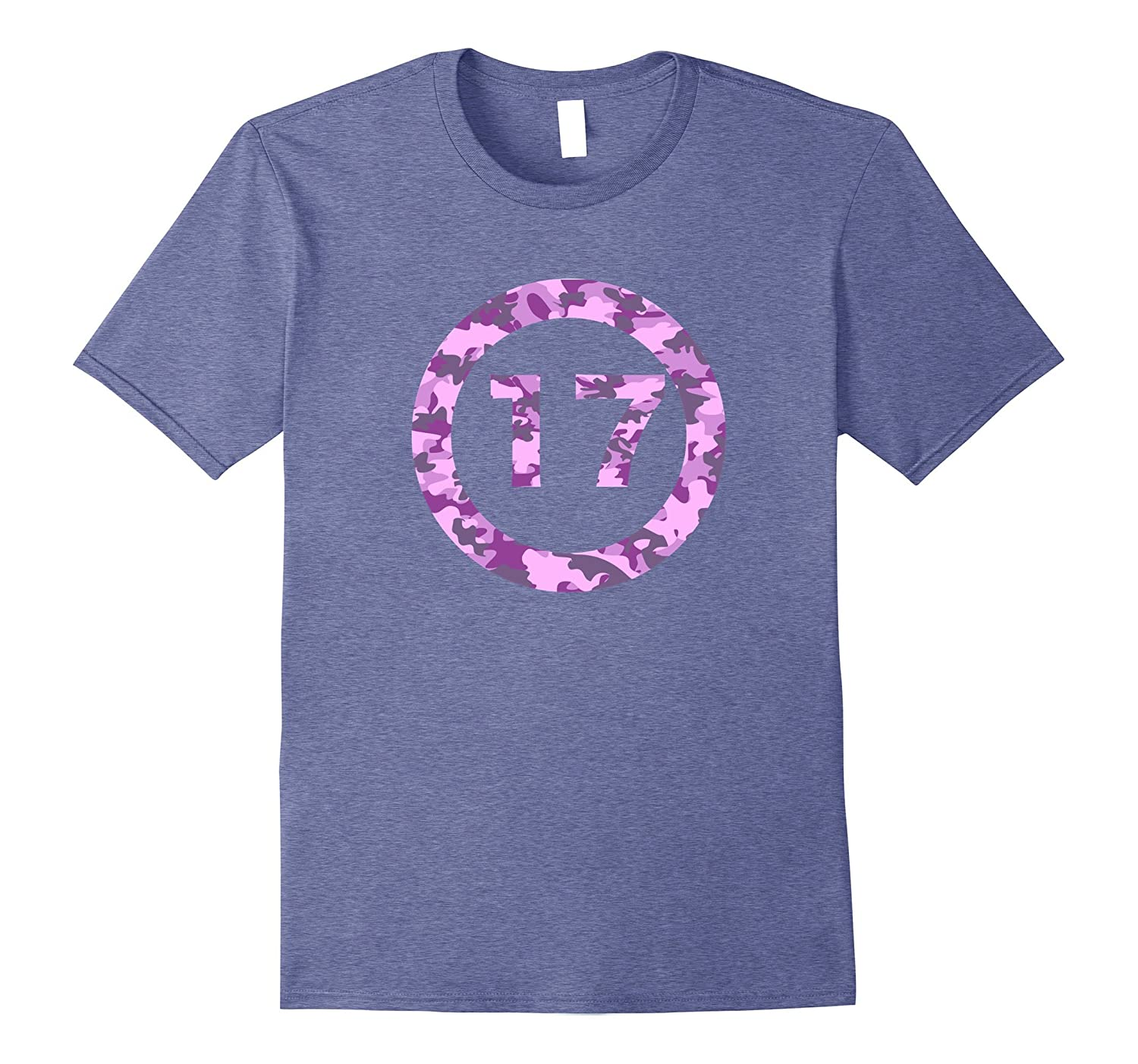 Birthday 17 in pink camouflage circle t-shirt-PL