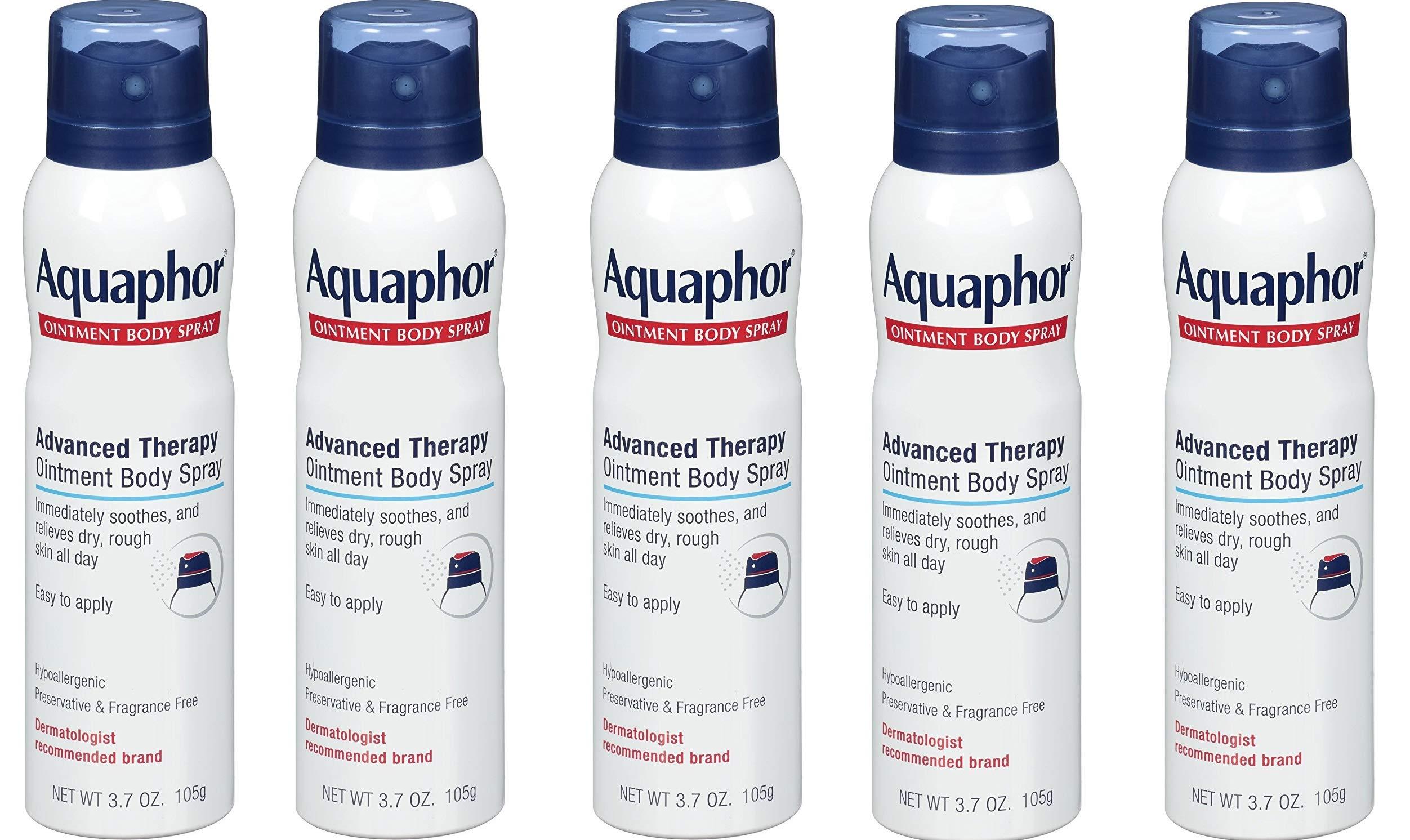 Aquaphor Ointment Body Spray - Moisturizes and Heals Dry, Rough Skin - 3.7 oz. Spray Can, 5 Pack