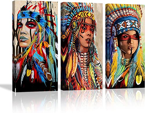 VIIVEI Large Beautiful Indian Girl Chief Canvas Wall Art Colorful Feathered Women Painting Print Native American Wall Decoration Poster