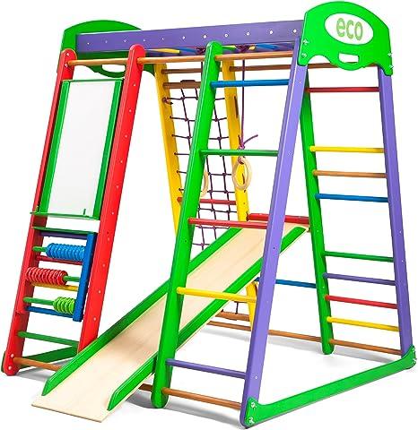 Centro de actividades con tobogán Akvarelka-plus, red de escalada, anillos, escalera sueco, campo de juego infantil: Amazon.es: Bebé