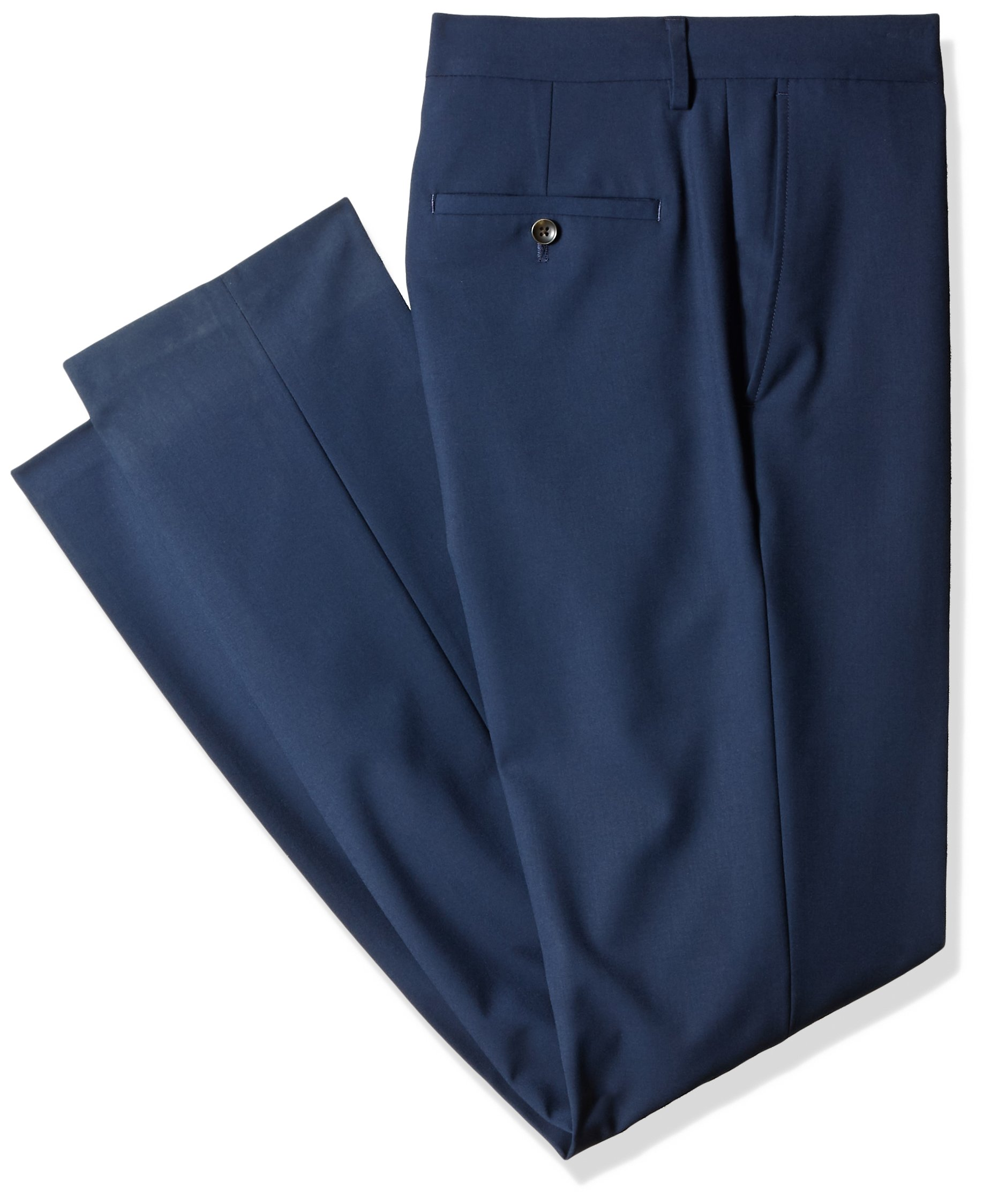 Haggar Men's J.M. 4-Way Stretch Solid Flat Front Slim Fit Suit Separate Pant, Blue, 38Wx36L by Haggar