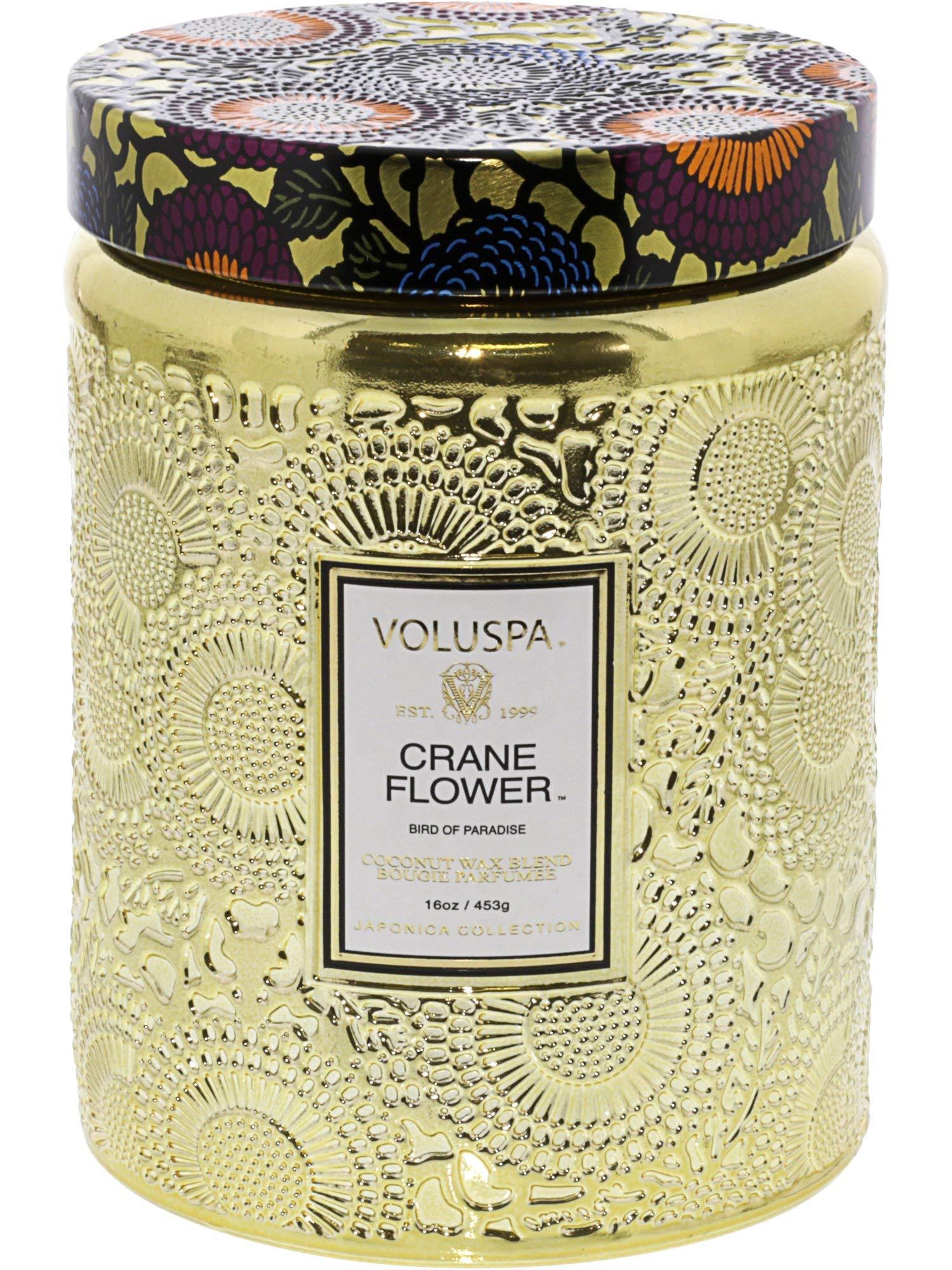 Voluspa Large Embossed Glass Jar Candle Crane Flower 16 oz
