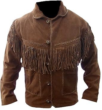 Classyak Hombres de Western Cowboy Flecos Chaqueta de Piel de Ante