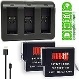 LOOkit 3 Kanal Chargeur + 2x LOOKit® Batterie AABAT-001 1220mAh - Gopro Hero 7 Gopro Hero 2018 Gopro Hero 6 Gopro Hero 5