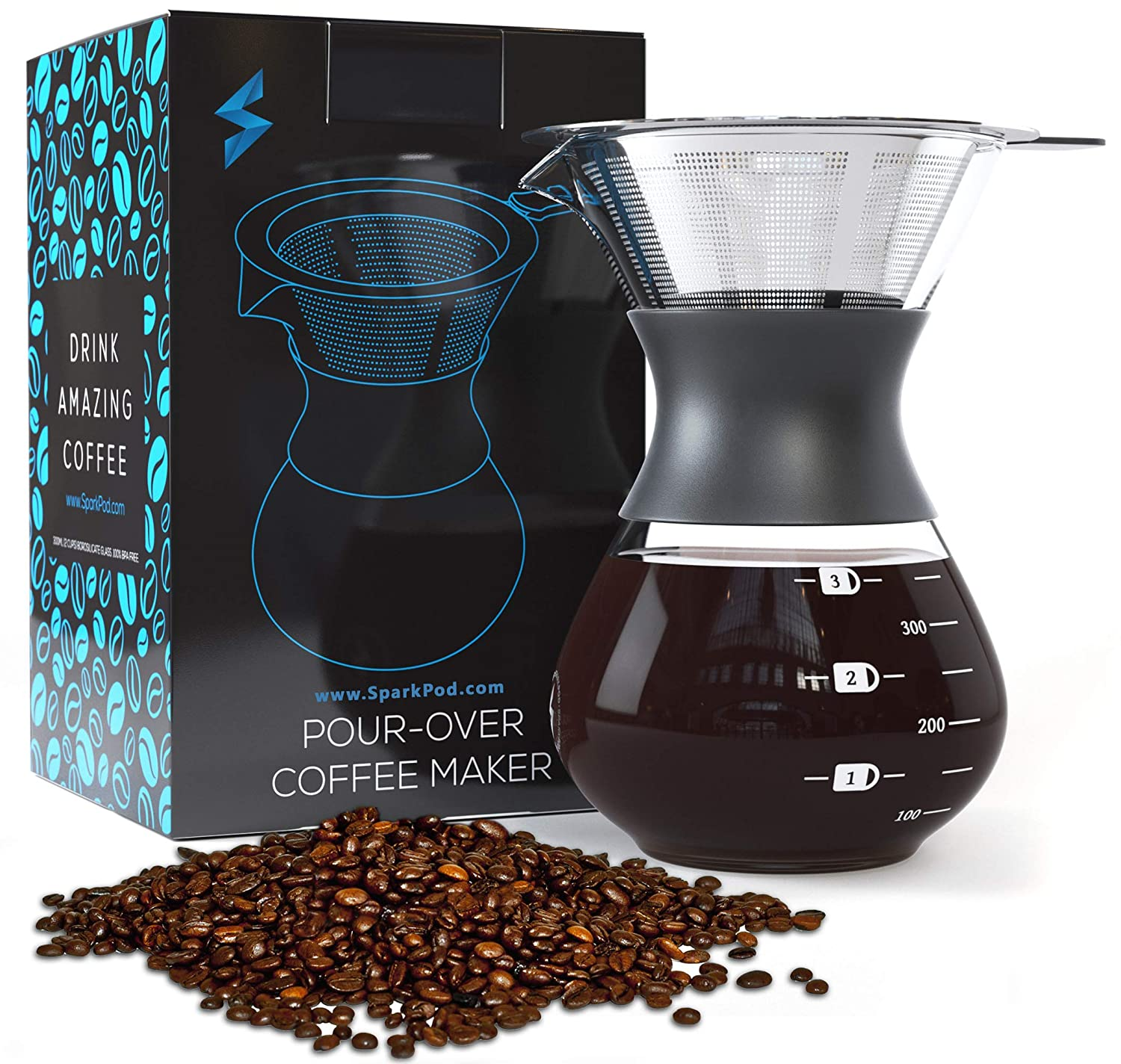 SparkPod Pour Over Coffee Maker w Stainless Steel Paperless Filter – Ultra-Fine Micro Mesh – One Cup Carafe Dripper – Kitchen, Office, Travel – Creates Fresh, Bold Flavors