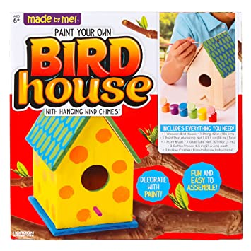 Amazon Com Made By Me Bird House With Wind Chime By Horizon Group