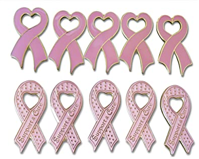 78e8153b983 Amazon.com: Support a Cure & Ribbon Heart Womens Breat Cancer Pink ...
