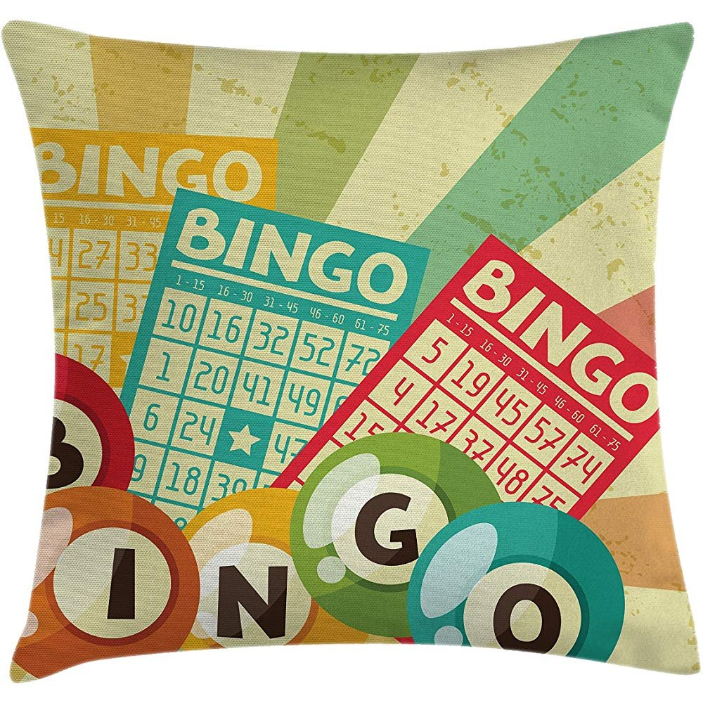 Throw Pillow Vintage Decor Cushion Cover, Bingo Game with Ball and Cards Pop Art Stylized Lottery Hobby Celebration Theme, Decorative Square Accent Pillow Case, 18 X 18 Inches, Multi