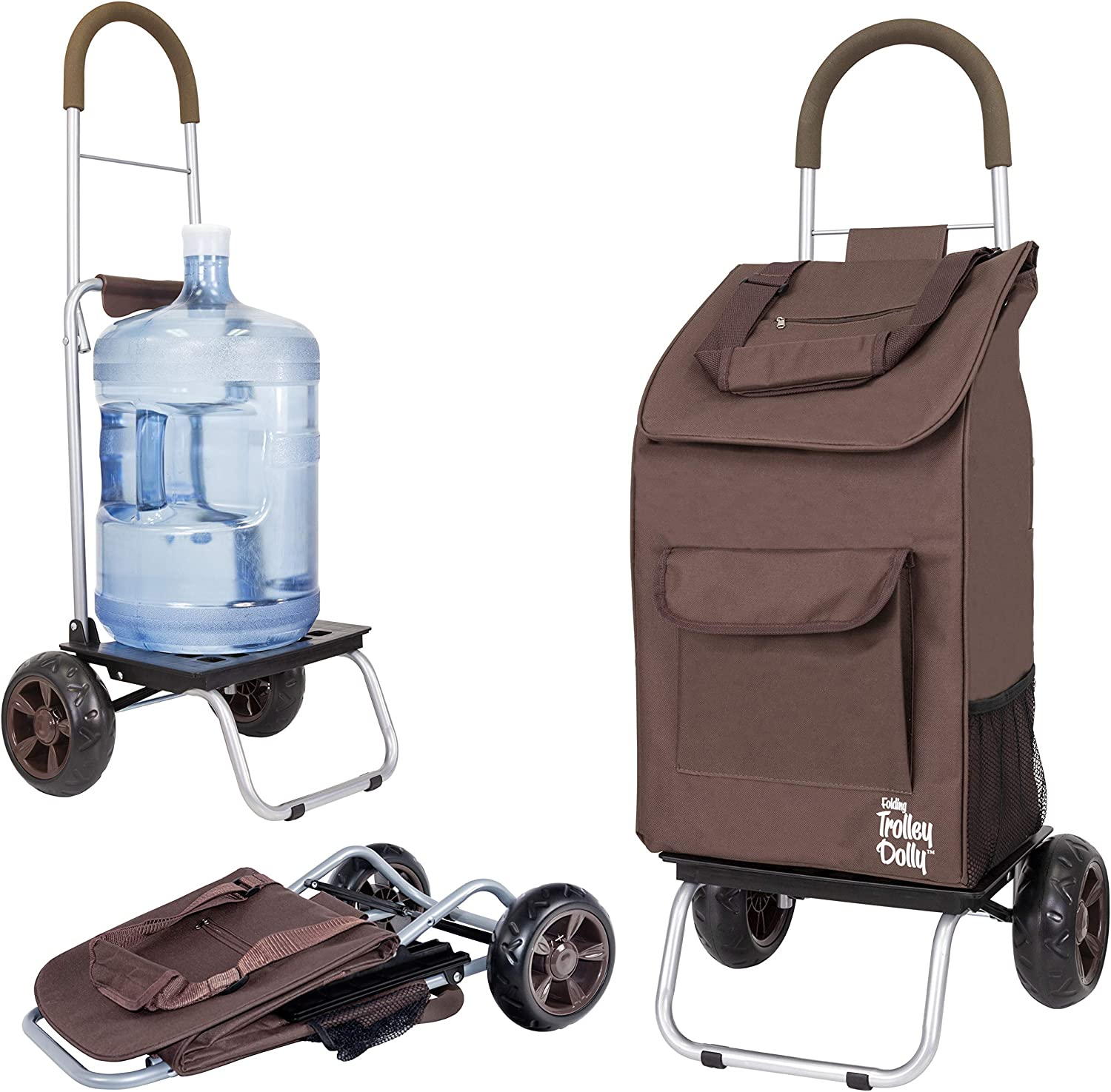 dbest products Trolley Dolly, Brown Shopping Grocery Foldable Cart