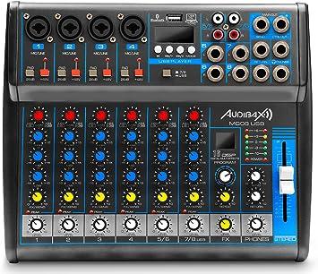 Audibax MG08 USB Mesa Mezclas 8 Canales con Bluetooth, MP3 ...