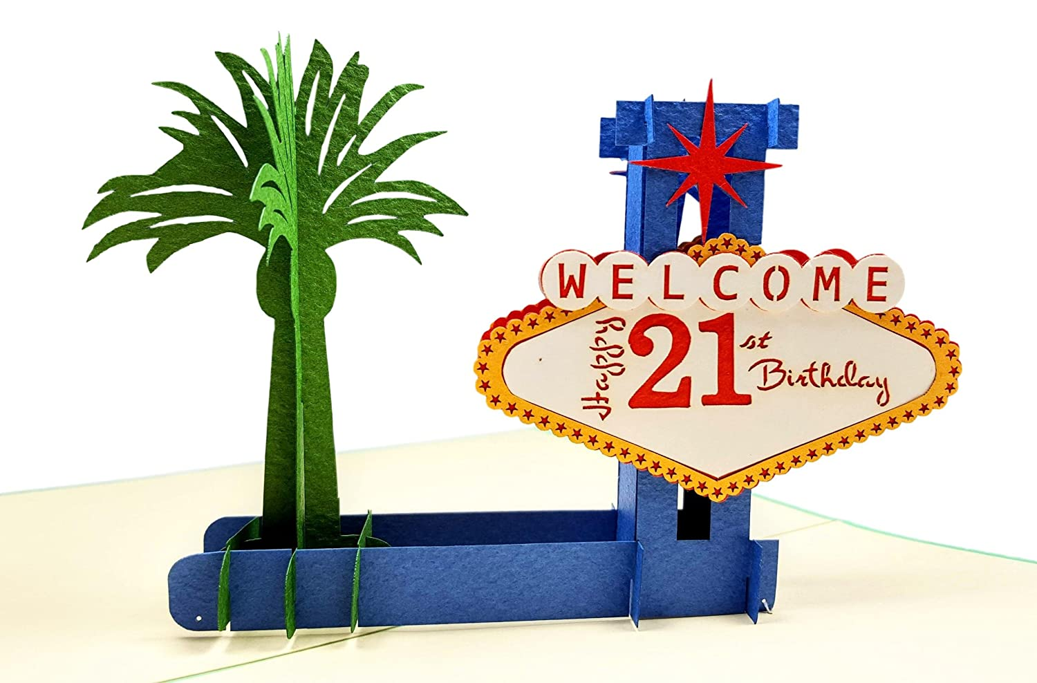 IGifts And Cards Happy 21st Birthday Las Vegas Style 3D Pop Up Greeting Card