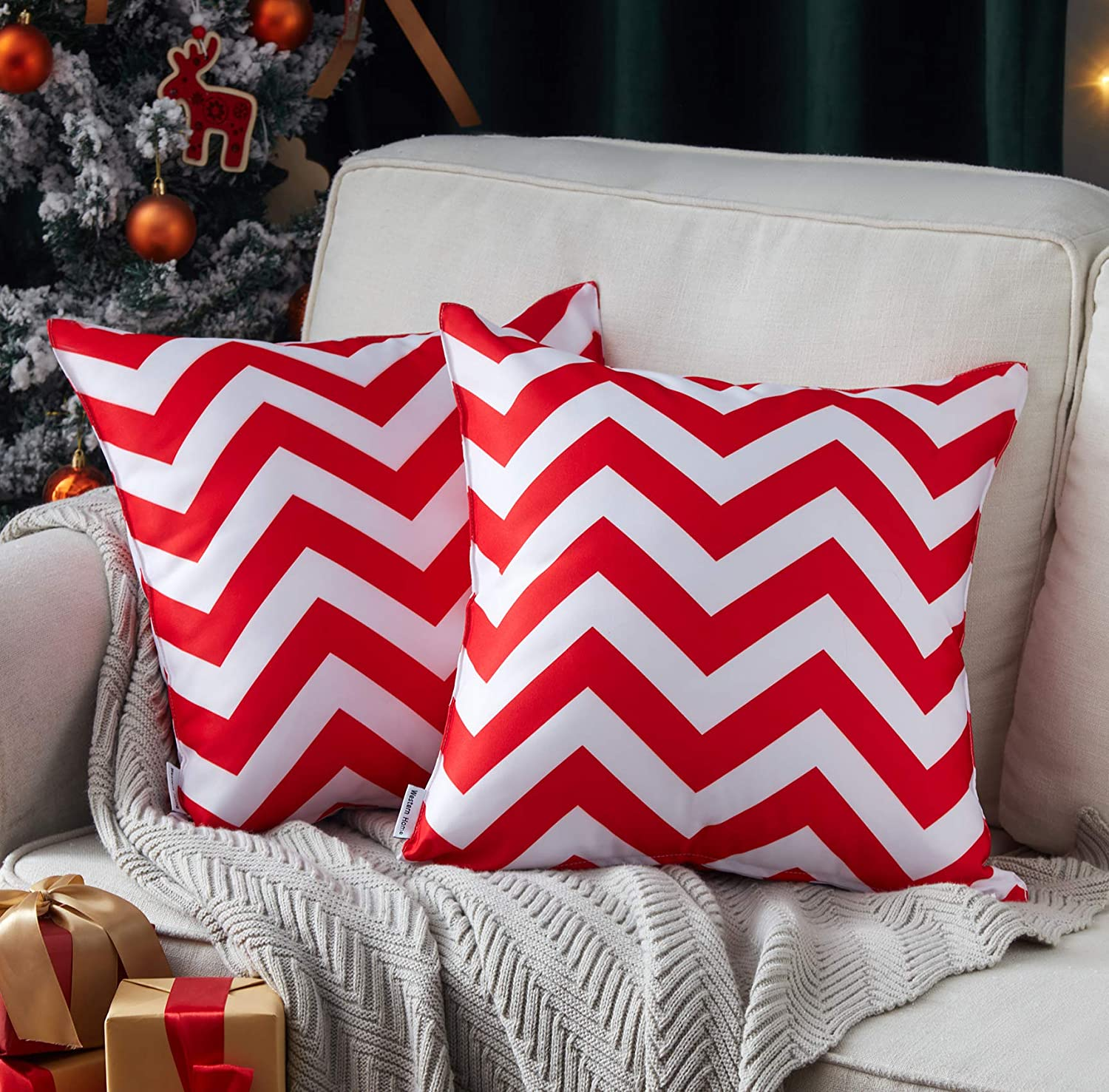 WESTERN HOME WH Pack of 2 Decorative Outdoor Christmas Waterproof Throw Pillow Covers Square Pillowcases Wave Pattern Cushion Covers Shell for Couch Patio Garden Tent Park 18 x 18 Inch Red