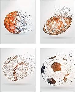 Sports Balls Wall Art Décor – Set of 4 Unframed (8x10) Poster Photos – Basketball Baseball Soccer Football