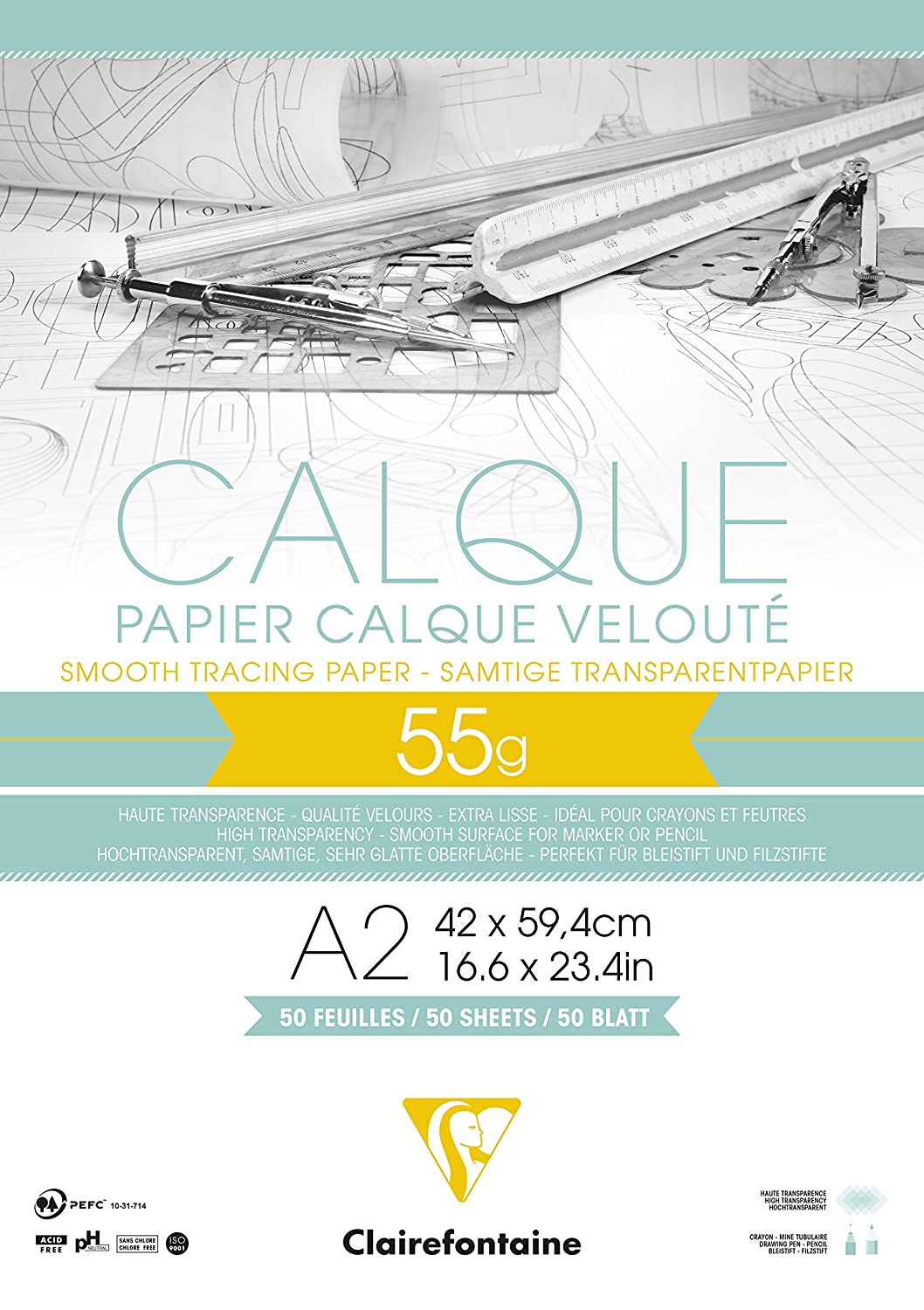 Clairefontaine A1 Tracing Paper, 50/55 g, 10 Sheets 975077C