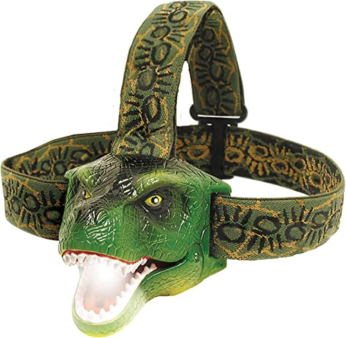 The Original DinoBryte LED Headlamp - T-Rex Dinosaur Headlamp for Kids Dinosaur Toy Head Lamp for Boys, Girls, or Adults Perfect for Camping, Hiking, Reading, and Parties
