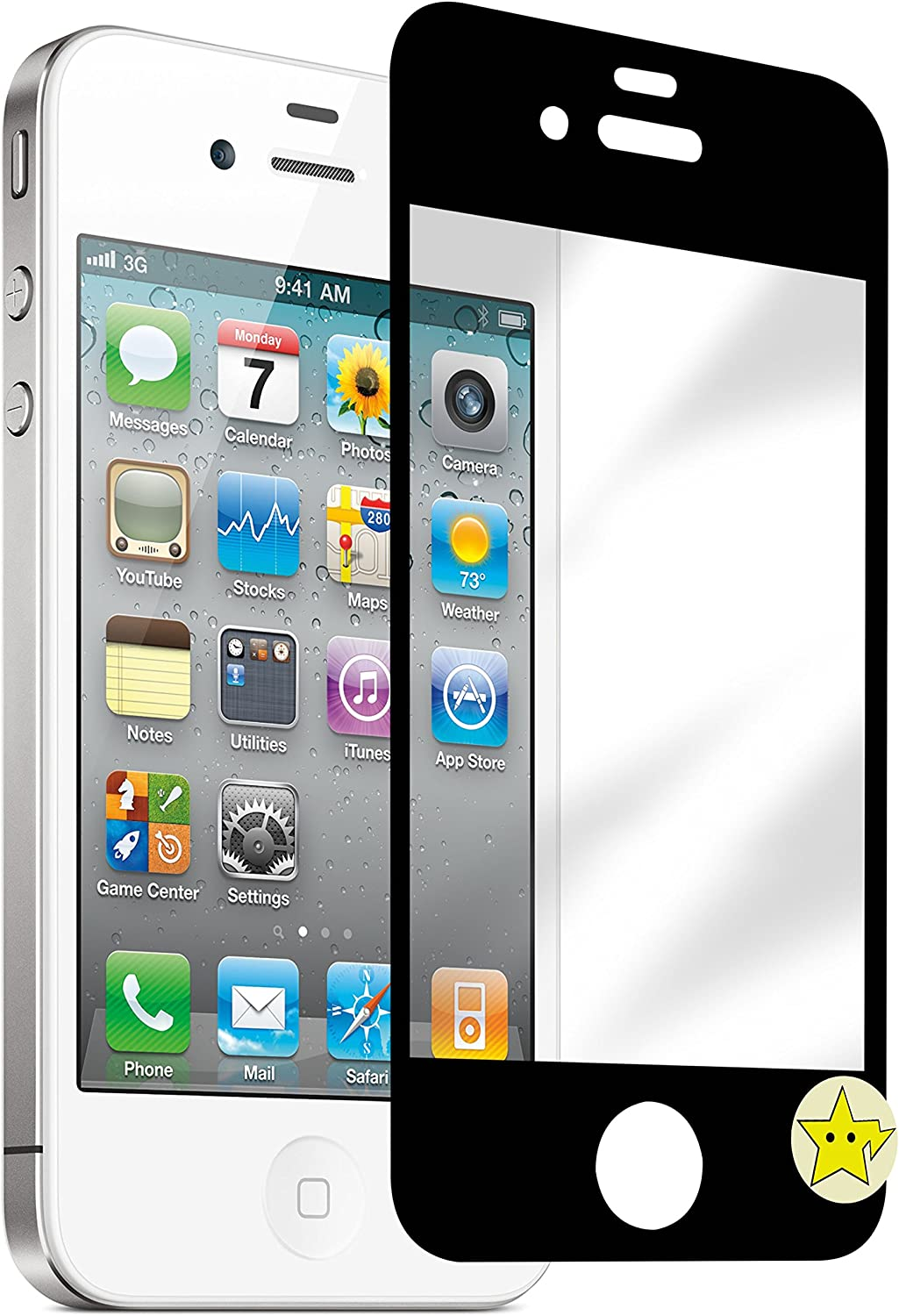 Tempered Glass Protective Face Plate Screen Protector for iPhone 4s, Black with Home Button Stickers