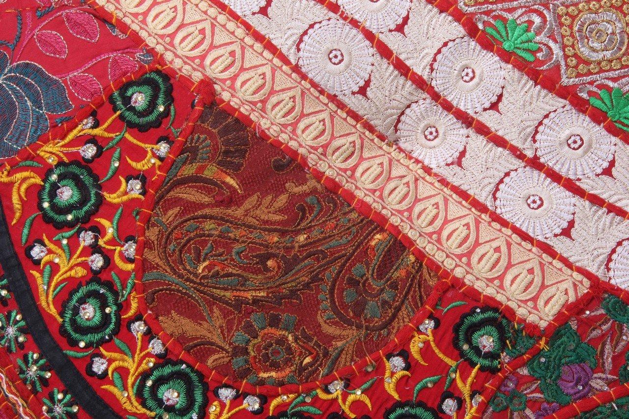 Size: 32X9X32 Inch Jaipurtextilehub JTH Ethnic Decor Pouf Antique Saree Pouffe Foot stool Round Poof Floor Pillow Ottoman